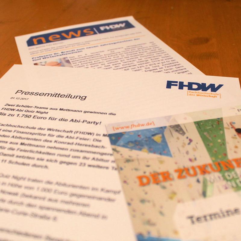 Öffentlichkeitsarbeit für die FHDW Campus Mettmann