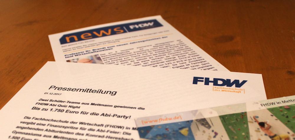 Öffentlichkeitsarbeit für die Fachhochschule der Wirtschaft in Mettmann